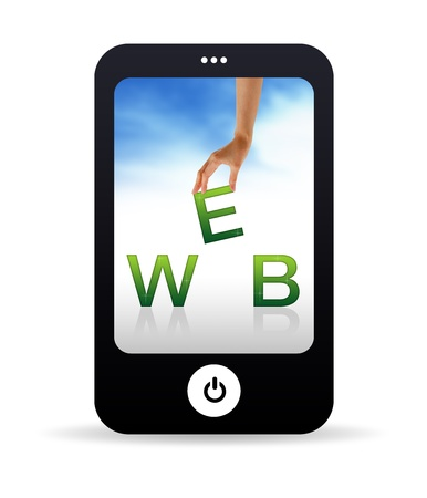 cellphone in hand: High resolution Mobile phone graphic with the word web