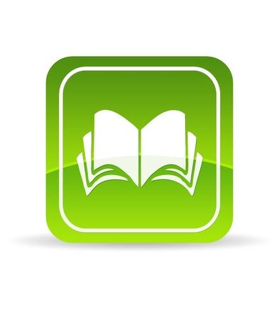 Hoge resolutie groen boek pictogram op witte achtergrond.