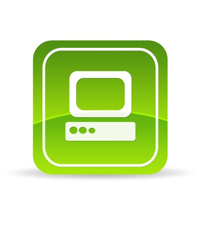 High resolution green computer icon on white background. photo