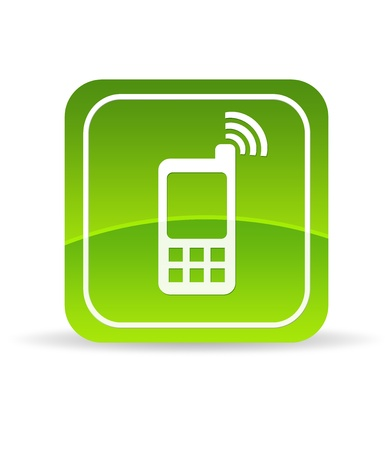 contact: High resolution green mobile phone icon on white background.