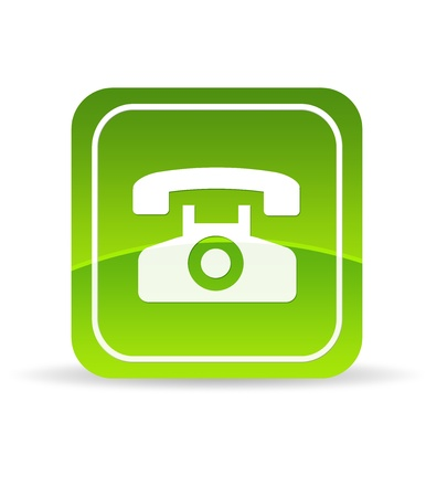 High resolution green telephone icon on white background.