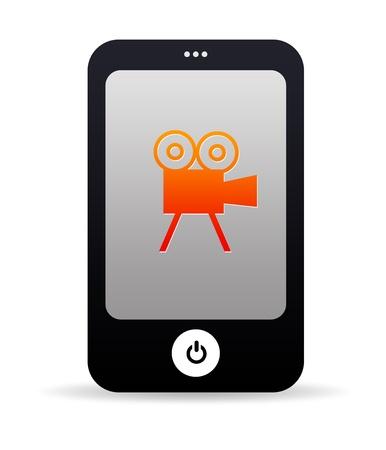 camara de cine: Gr�fico de tel�fono m�vil de alta resoluci�n con un icono de la pel�cula. Foto de archivo