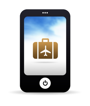 High resolution Mobile phone graphic with a suitcase. photo
