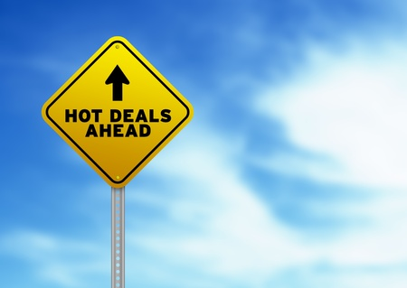 High resolution graphic of a yellow Hot Deals Ahead Road Sign on Cloud Background.