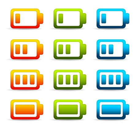 High resolution graphic of colorful batteries.  photo