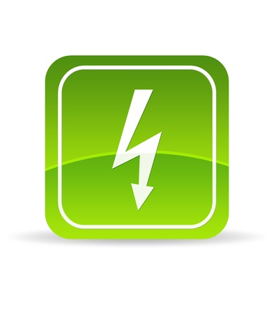 High resolution green lightning bolt icon on white background. photo