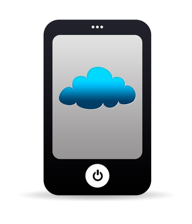 High resolution cell phone graphic with cloud icon. photo
