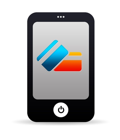 mobile app: High resolution cell phone graphic with credit card icons