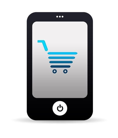 High resolution mobile phone graphic with shopping cart photo