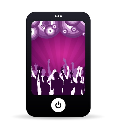 woman cellphone: High resolution graphic of a mobile phone with dancing people background.