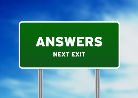 clues: High resolution graphic of a gren answers street sign on Cloud Background.  Stock Photo