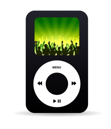 High resolution music player with crown dancing wallpaper. photo