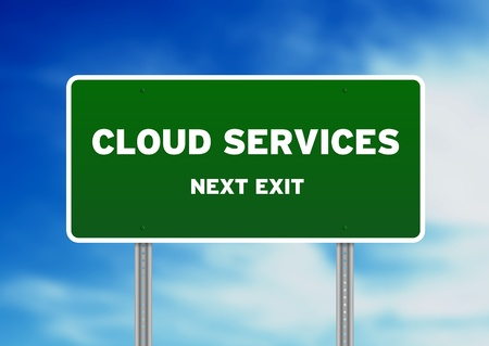 High resolution graphic of a cloud services road sign on cloud background.