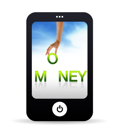 technology transaction: High resolution Mobile phone graphic with the word money. Stock Photo