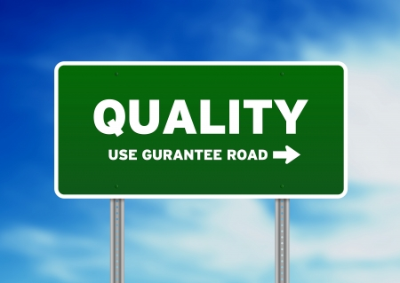 High resolution graphic of quality street sign on Cloud Background. Stock Photo - 9836313