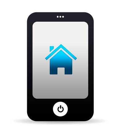 phone icon: High resolution mobile phone graphic with Home Icon.