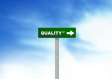 quality assurance: High resolution graphic of Quality Road Sign on Cloud Background