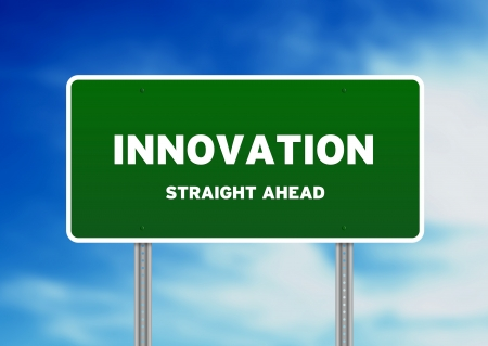 High resolution graphic of a innovation street Sign on Cloud Background. Stock Photo - 9836371