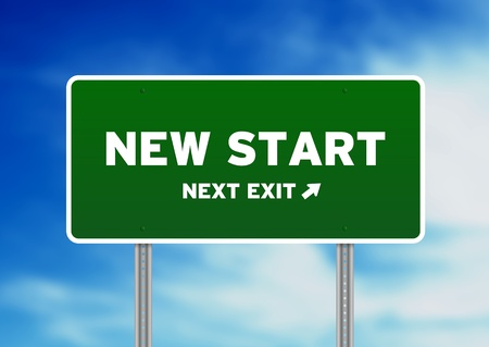 High resolution graphic of a New Start Street Sign on Cloud Background. Stock Photo - 9836369