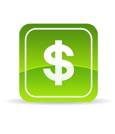 nestegg: High resolution green dollar icon on white background. Stock Photo