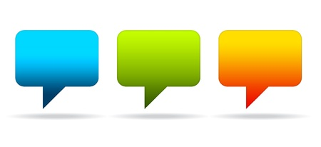 chat: High resolution graphic of colorful speech bubbles. Stock Photo