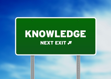 specialize: High resolution graphic of a knowledge street  sign on Cloud Background.