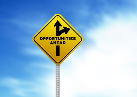 High resolution graphic of a yellow Opportunities Ahead Road Sign on Cloud Background. Stock Photo - 9836326
