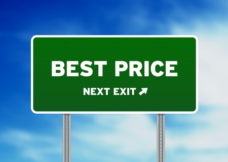 price reduction: High resolution graphic of a best price highway sign on cloud background.