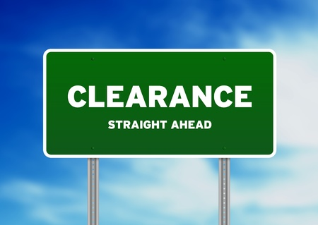 High resolution graphic of a clearance highway sign on Cloud Background.  photo