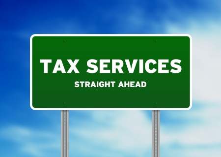 High resolution graphic of a tax services highway sign on Cloud Background.