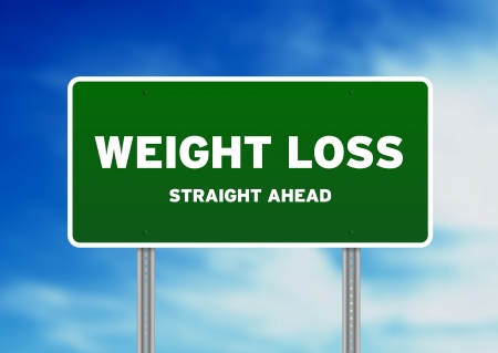 weight: High resolution graphic of a weight loss highway sign on Cloud Background.