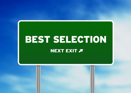 High resolution graphic of a Best Selection Highway Sign on Cloud Background.