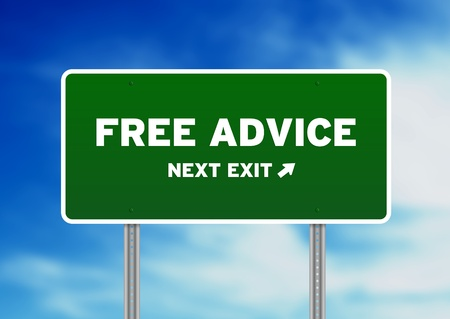 High resolution graphic of a Free Advice Highway Sign on Cloud Background.  Archivio Fotografico