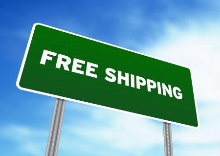 High resolution graphic of a Free Shipping Highway Sign on Cloud Background. Stock Photo - 9836409