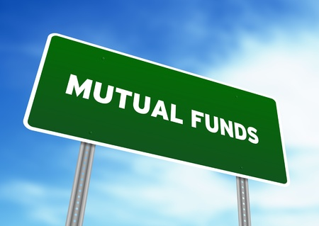 mutual: High resolution graphic of a Mutual Funds Highway Sign on Cloud Background.