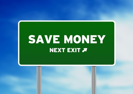 High resolution graphic of a save money highway sign on Cloud Background.