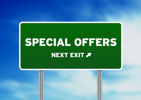 High resolution graphic of a special offers highway sign on Cloud Background.