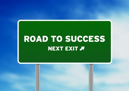 increase success: High resolution graphic of a Road to Success Highway Sign on Cloud Background.  Stock Photo