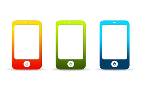 High resolution graphic of colorful mobile phones on white background.  Stock Photo - 9836410