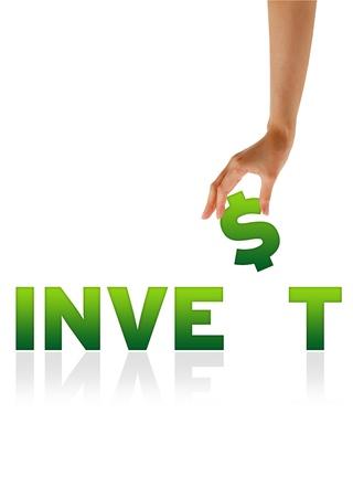 Hoge resolutie afbeelding van een hand die de $ van het woord te investeren.