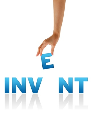 High resolution graphic of a hand holding the letter E from the word Invent Stock Photo - 9836341