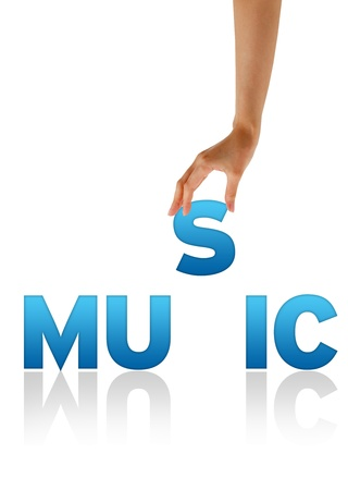 hymn: High resolution graphic of a hand holding the letter S of the word music.