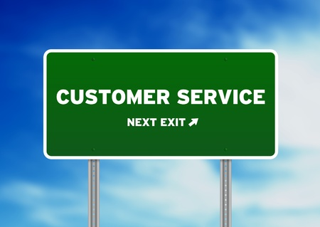 High resolution graphic of a Customer Service Highway Sign on Cloud Background.