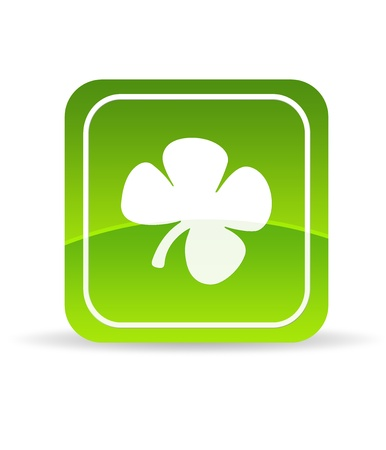 High resolution Green Clover icon on white background. Stock Photo - 9836379