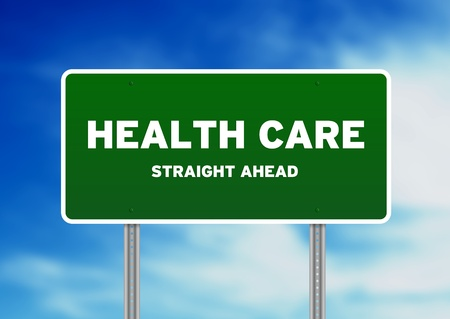 High resolution graphic of a Health Care Highway sign on Cloud Background.  photo