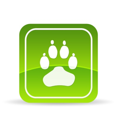 hunting dog: High resolution Green Animal Paw Icon on white background. Stock Photo