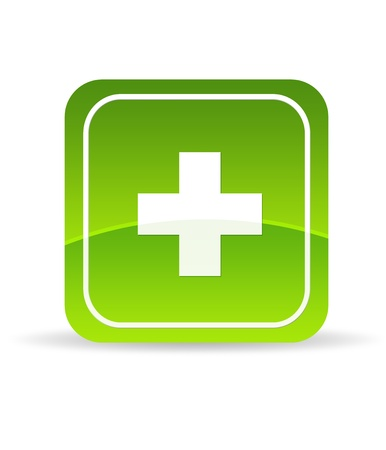 High resolution green plus icon on white background. photo
