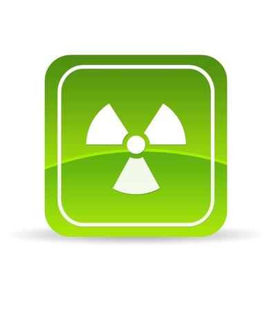 nuke plant: Icono verde de radiaci�n de alta resoluci�n sobre fondo blanco. Foto de archivo