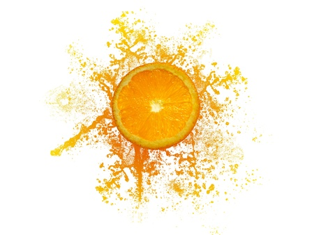 High resolution graphic of a orange with orange juice splash. Stock Photo - 9836389