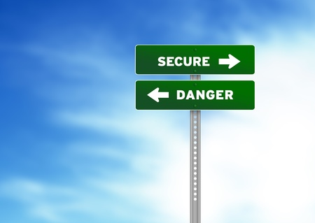 High resolution graphic of a secure and danger Road Signs on Cloud Background photo